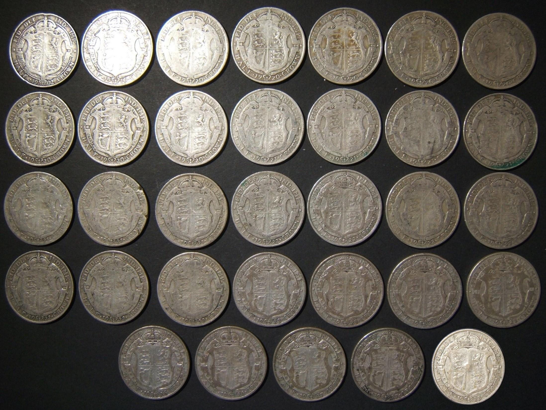 Britain: lot 33x silver Half-Crown coins post Queen Victoria - Edward VII & George V series (KM# 802/818): 1902, 1916, 1920 (x8), 1921 (x7), 1922 (x7), 1923 (x5), 1926 (x2), 1927 (