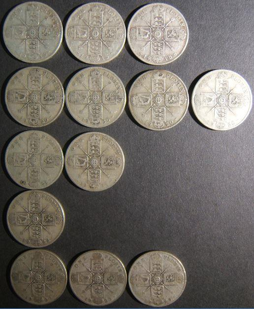 Britain: lot 13x silver Florins (2 Shillings), 1914-1923 period (KM# 817/a) in better F - with complete obv. legend; 1914, 1915, 1918, 1920 (x4), 1921 (x2), 1922, 1923 (x3); est. v