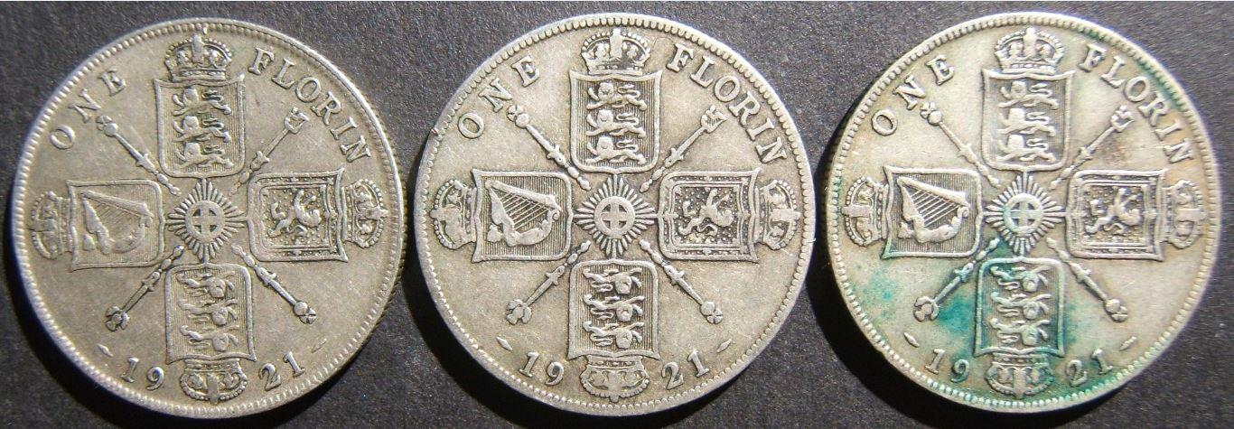 Britain: lot 3x silver Florins (2 Shillings), 1921 (KM# 817a) in EF; est. value $175+