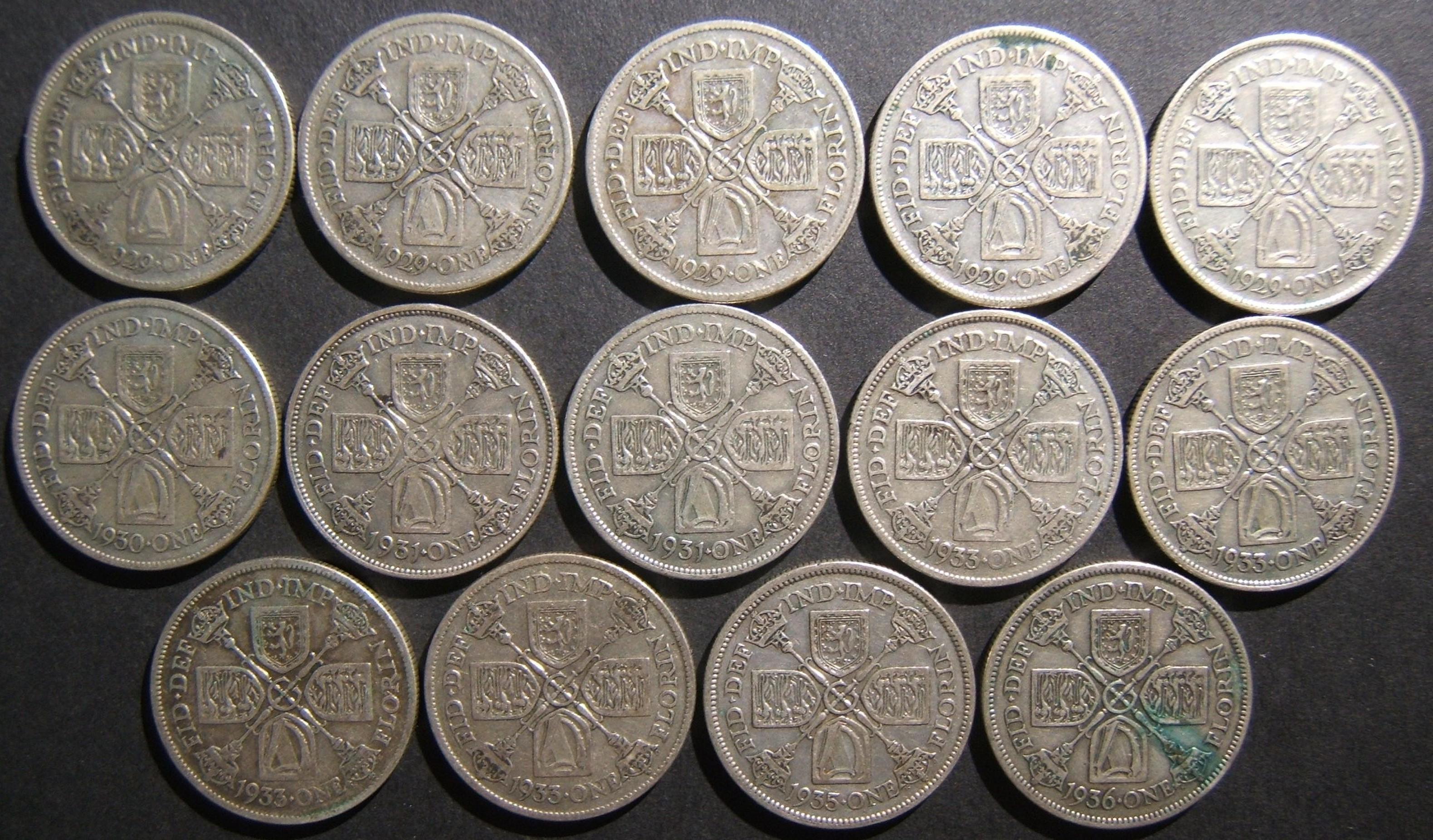 بريطانيا العظمى 14x الفضة Florins (2 شلن) ، 1928-1936 سلسلة (KM # 834) في VF