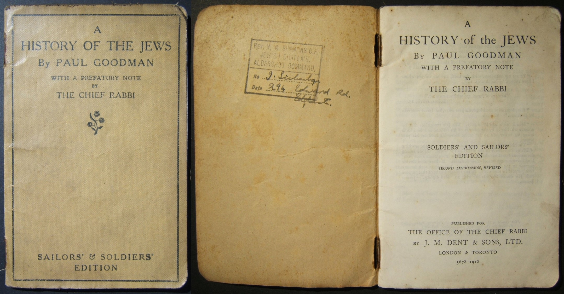 WWI Jewish history of WWI book of Paul Goodman for British army / seahanders 1918