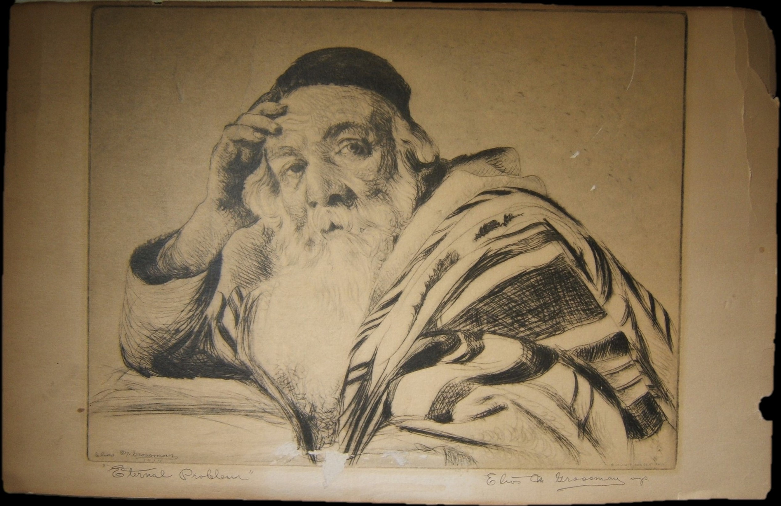 American print of Elias Grossman etching of Rabbi pondering Talmudic problem, 1924