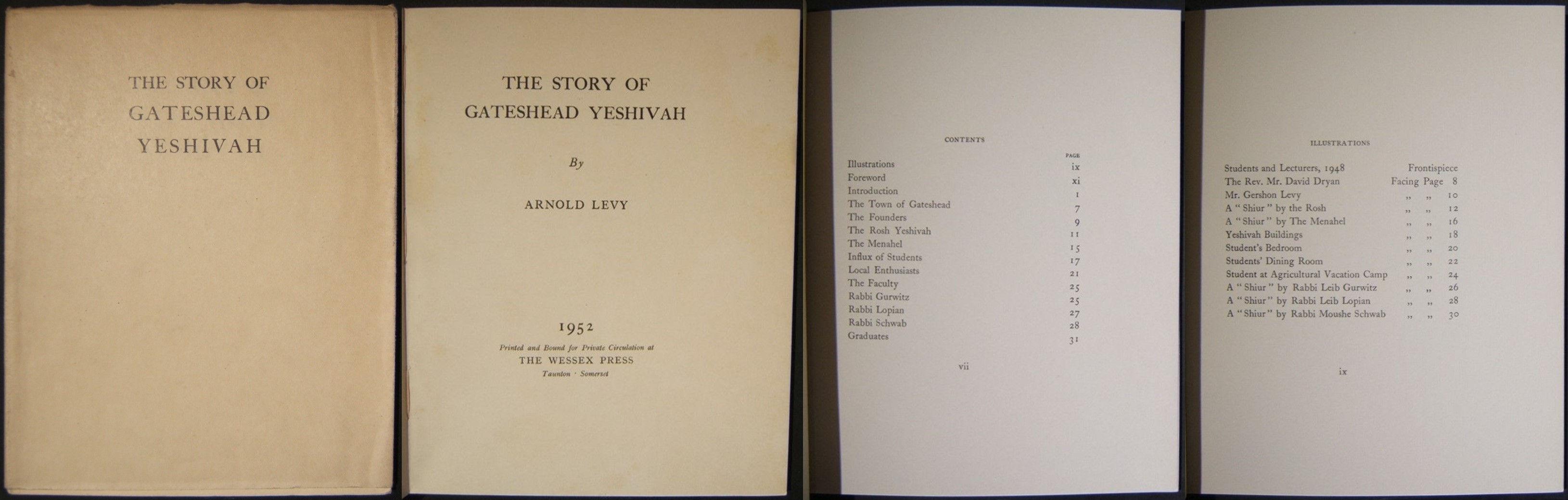יודיקה בריטית סיפורו של ספר הישיבה של גייטסהד מאת ארנולד לוי / וסקס עיתונות 1952