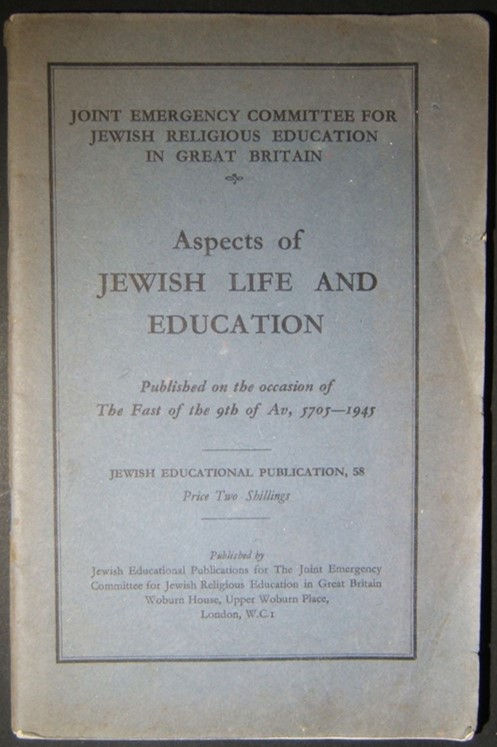 Post-Holocaust Judaica booklet Aspects of Jewish Life & Education, 1945