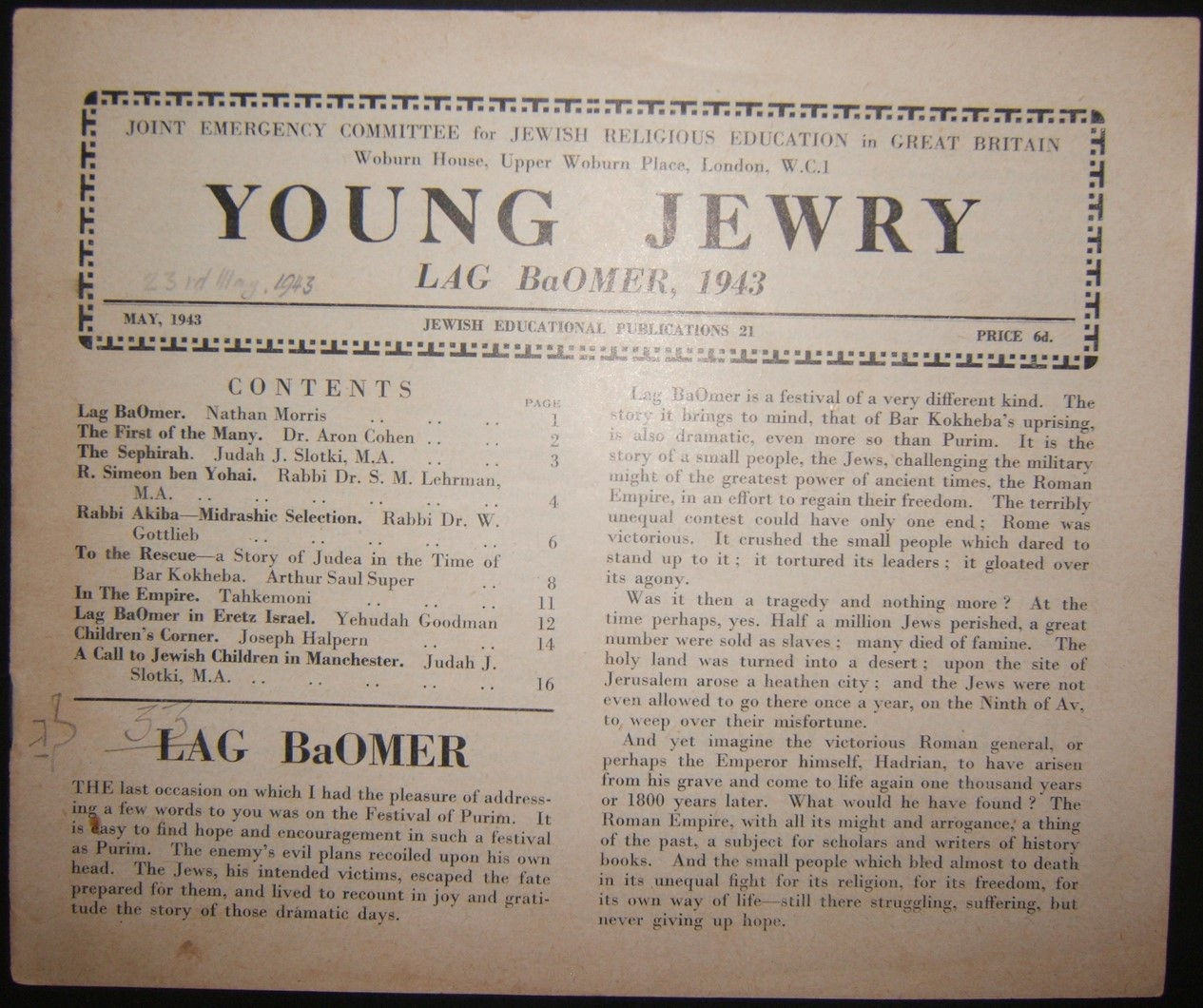 British Holocaust era Orthodox Jewish Young Jewry evacuee's periodical #21, 1943