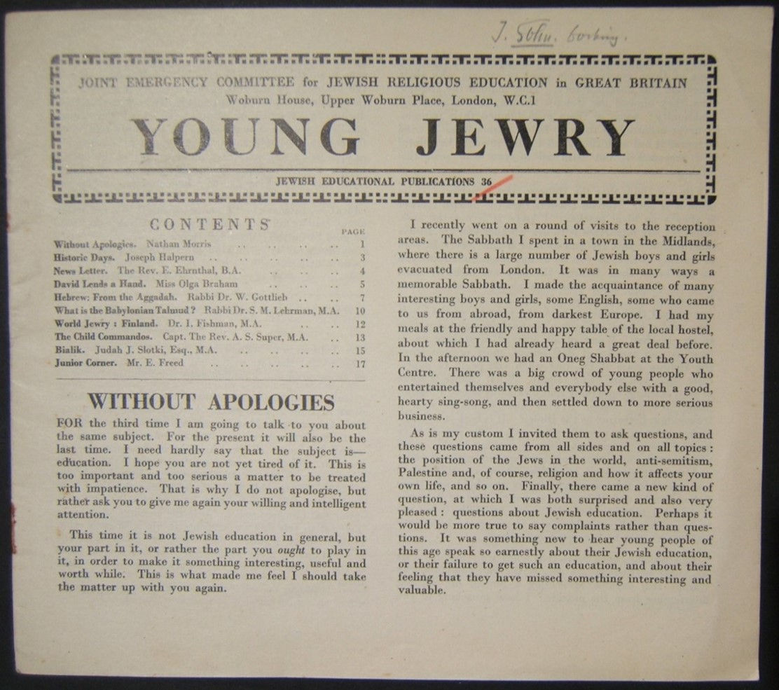 British Holocaust era Orthodox Jewish Young Jewry evacuee's periodical #36, 1943