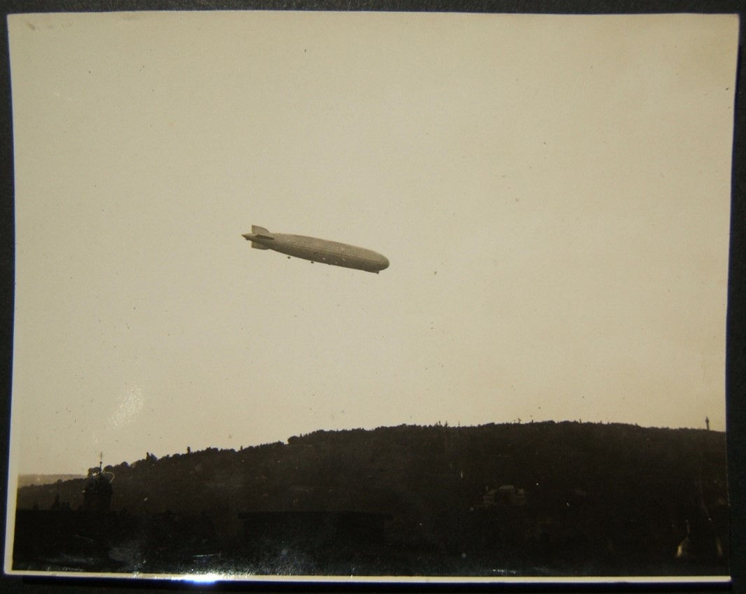 German photograph of Graf Zeppelin LZ127 over hilly town Wurzberg? 1928-30