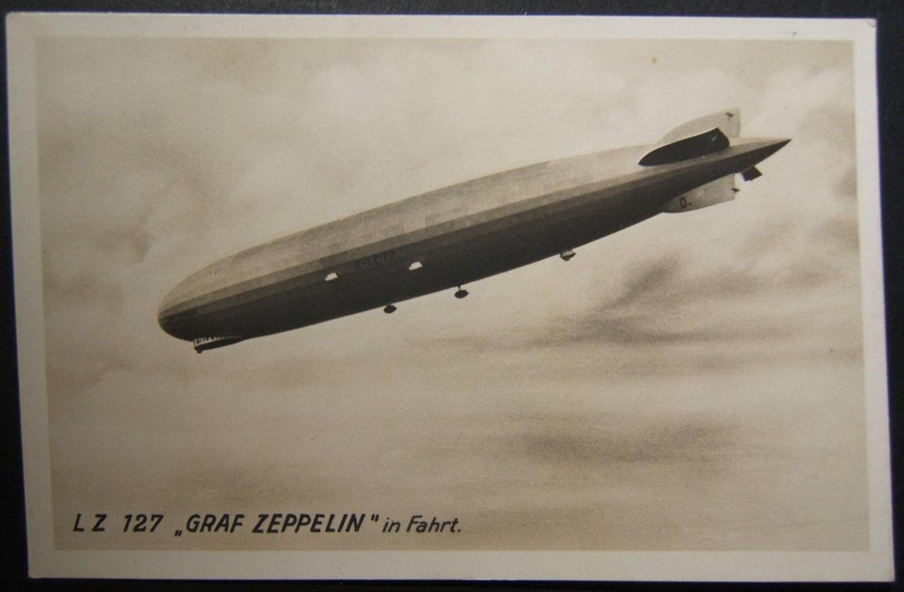 بطاقة بريدية باسم Graf Zeppelin مع تفاصيل مكتوبة حول رحلتها الأولى 15-10-1928