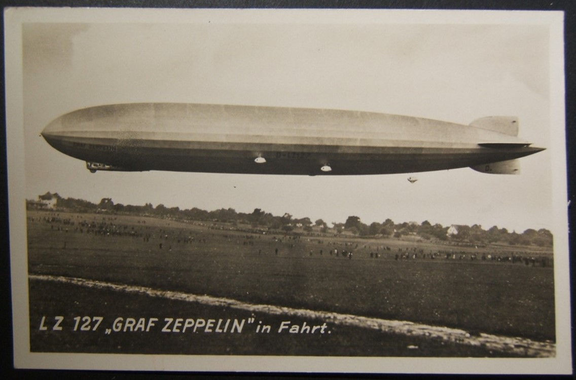 German Graf Zeppelin photo postcard with written details about its 1st flight 15-10-1928