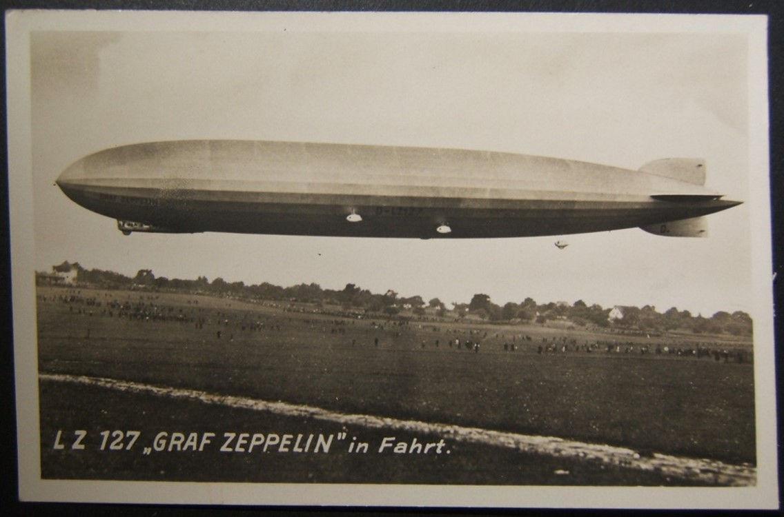 גראף גרף זפלין גלויה עם פרטים כתובים על הטיסה הראשונה שלה 15-10-1928