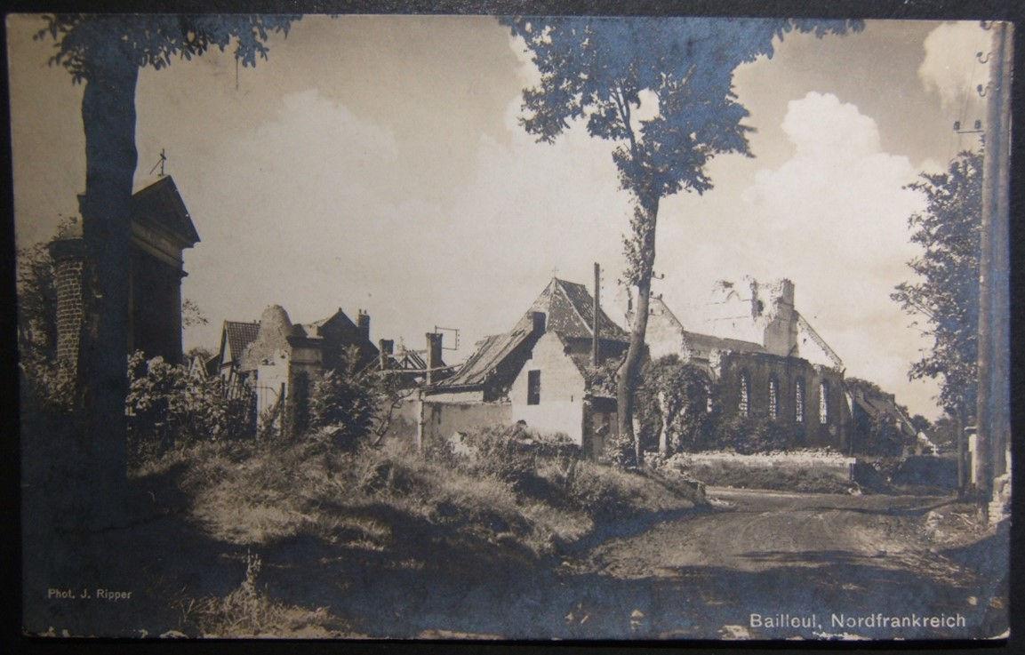 الحرب العالمية الأولى الألمانية بطاقة صور عالية الوضوح من الحرب دمرتها Bailleul فرنسا التي كتبها J. Ripper