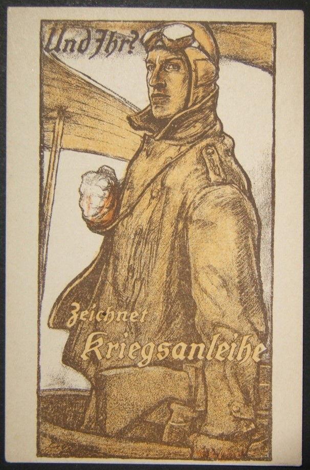 الحرب العالمية الأولى الألمانية موضحة اللون دعاية الحرب سندات بطاقة بريدية من الطيار من قبل Erler