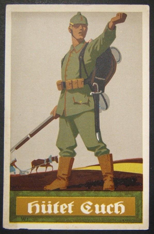 الحرب العالمية الأولى الألمانية موضحة دعاية اللون حذار بطاقة بريدية من الجندي ، 1915