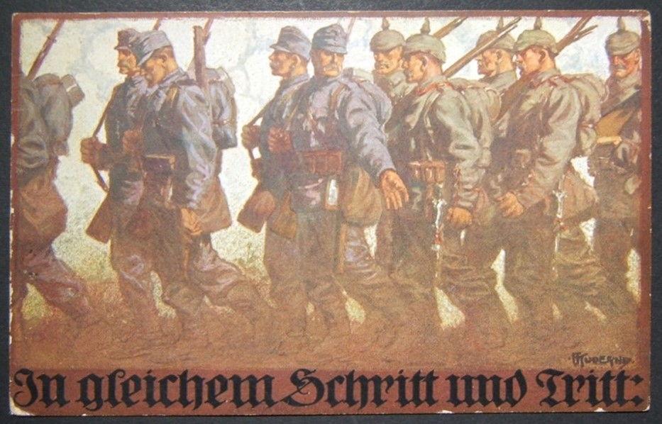 German/Austro-Hungarian WWI illustrated color propaganda Step-in-Step postcard