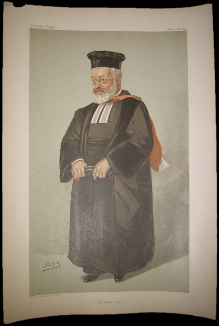 Vanity Fair color print of Chief Rabbi Hermann Adler 1904 by Leslie Matthew Ward