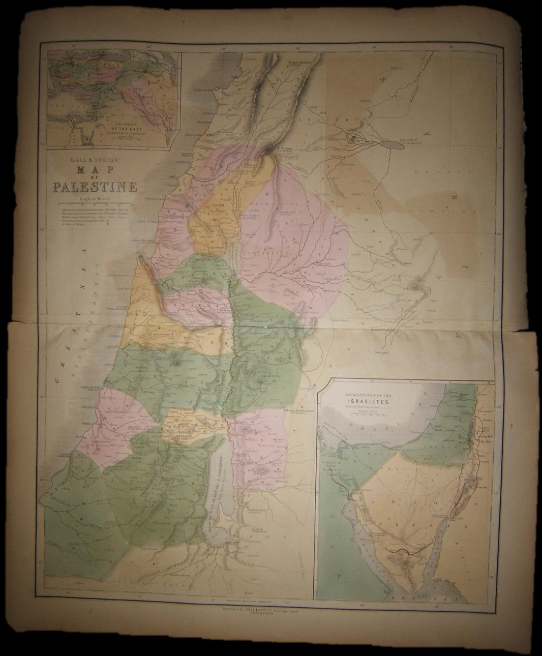 British color Map of Biblical Palestine by Gall & Inglis of Edinburgh 1860's