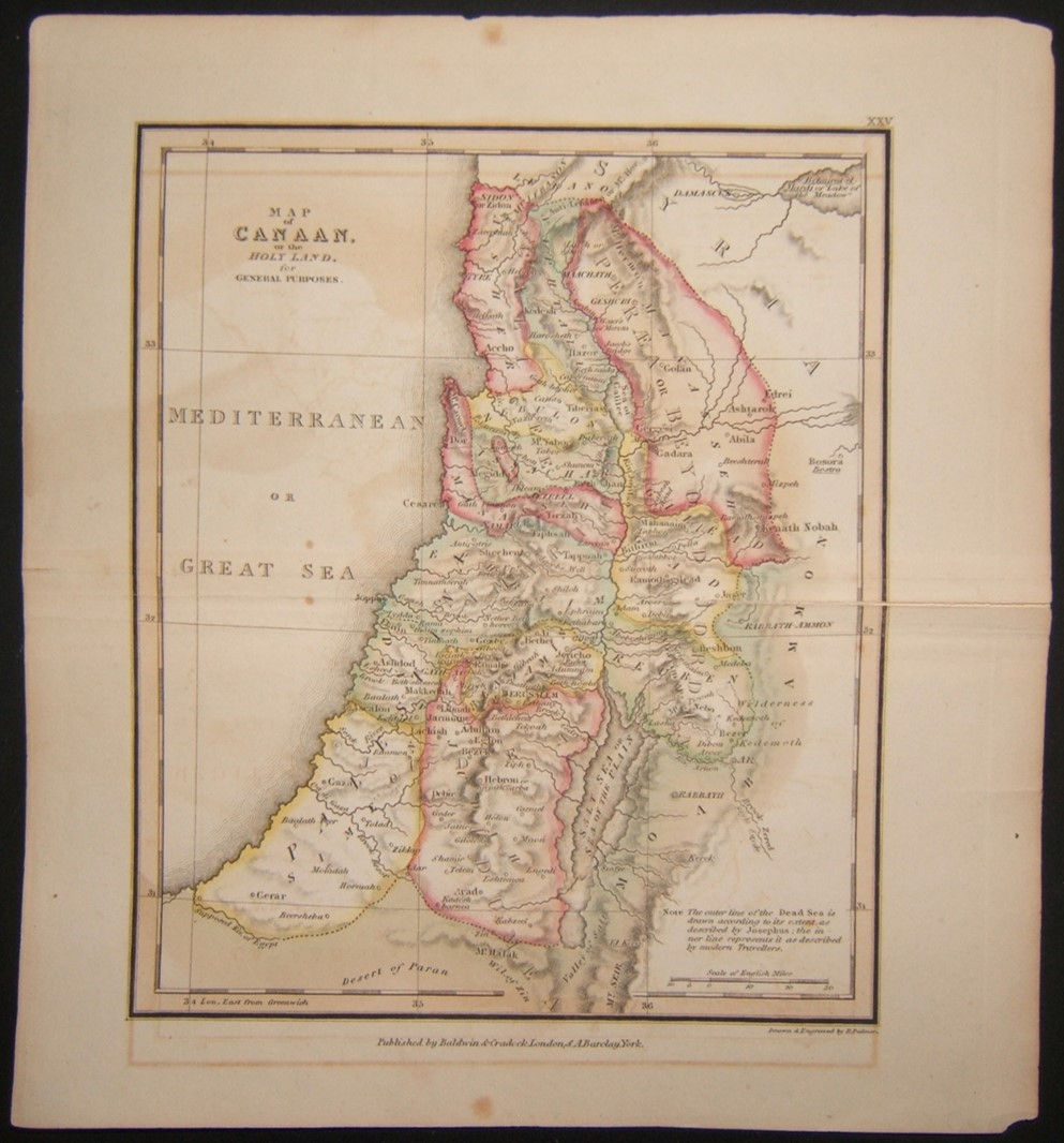 British color Map of Canaan of the Holy Land by Richard Palmer 1823