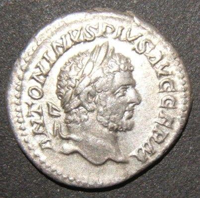 الفضة الرومانية القديمة عملة Denarius من Caracalla Augustus ANTONINVS PIVS AVG GERM