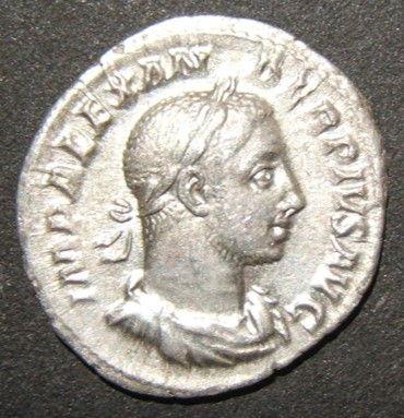 Alte römische Silber Denar Münze von Severus Alexander IMP ALEXANDER PIVS AVG