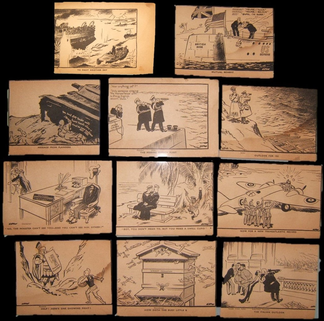 World War II era 11x David Low cartoons as clipped from period newspapers
