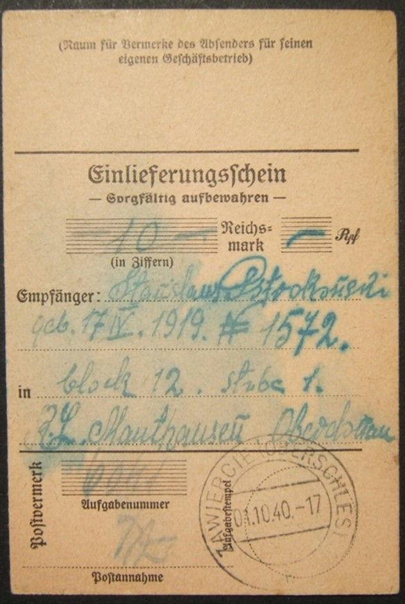 10/1940 Holocaust era Mauthausen concentration camp deposit slip for money order