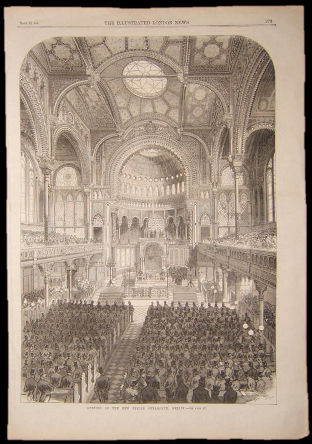 British Judaica print of new Synagogue in Berlin, 1866; from periodical