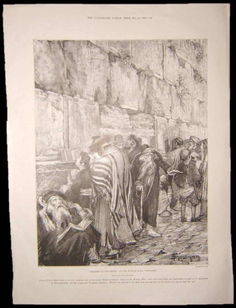 הדפס יודאיקה בריטית של יהודים בקינה בכותל המערבי, יצחק סנומן, 1898