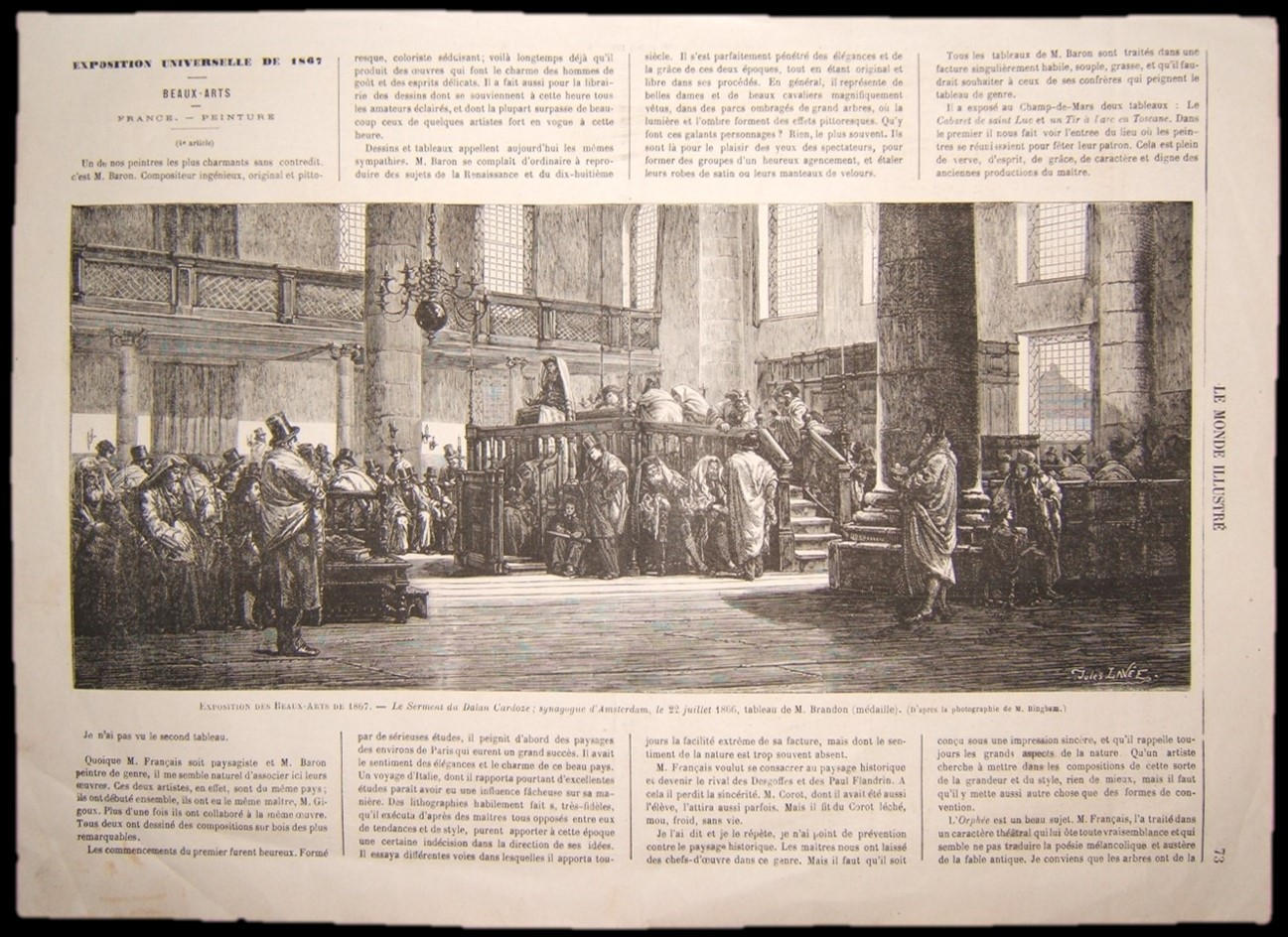 French Brandon Judaica print of Dayan Cardozo Sermoning at Amsterdam Synagogue 1866