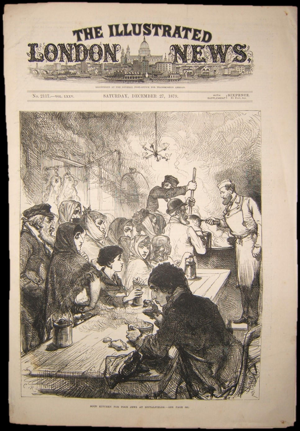 British Judaica print of Soup Kitchen for Poor Jews at Spitalfields London, 1879