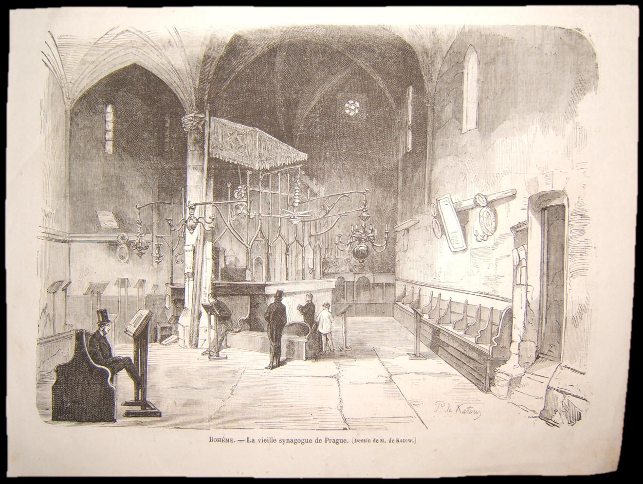 French Judaica print of Alt-Neu Shul Synagogue, Prague/Bohemia, by Paul de Katow