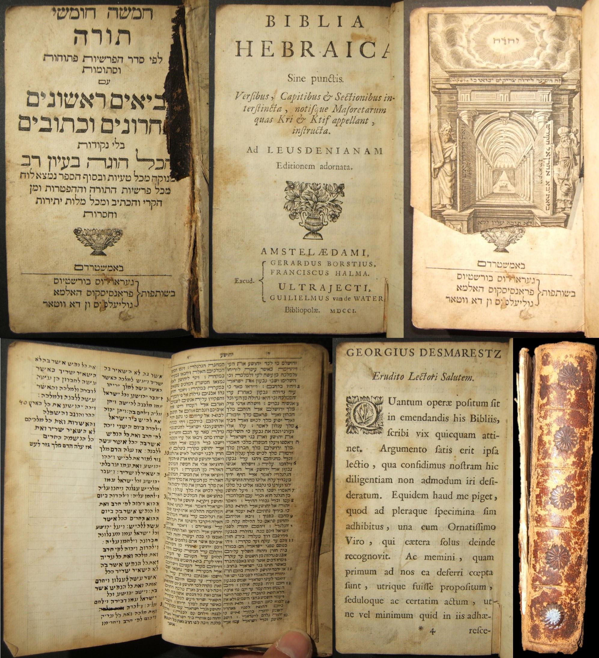 الهولندية اللاتينية / العبرية Biblia Hebraica Tanach، part 2؛ Borstius، Halma & Water 1701
