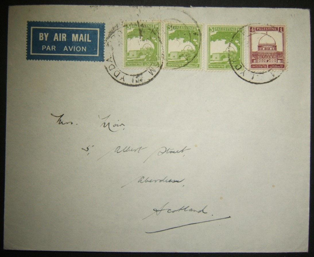 6/1936 نادرة فلسطين الانتداب JSM LYDDA TPO العناوين على * البريد الجوي * إلى اسكتلندا