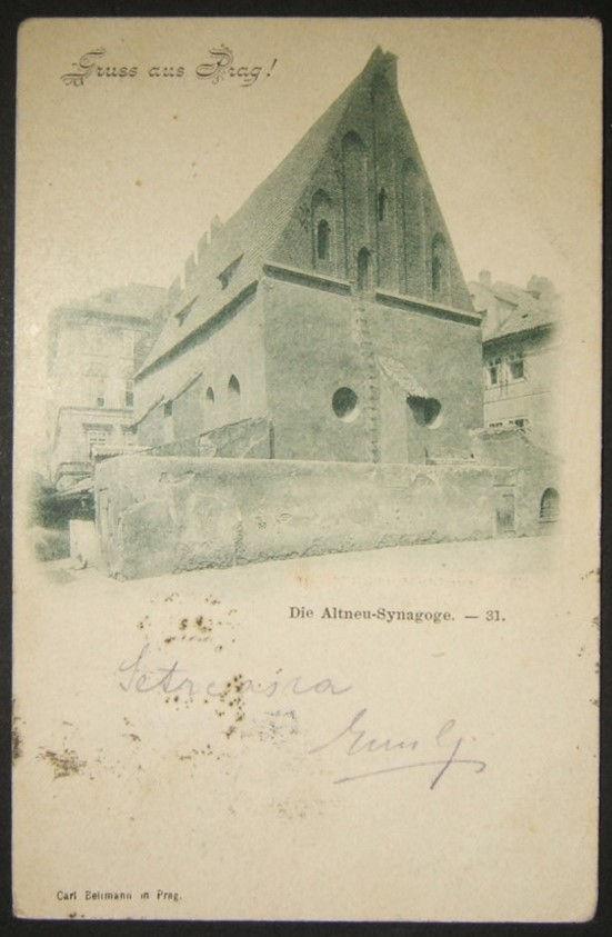 تشيكوسلوفاكيا يهودية بطاقة بريدية من براغ Altneu Shul Synagogue براغ ، وتستخدم