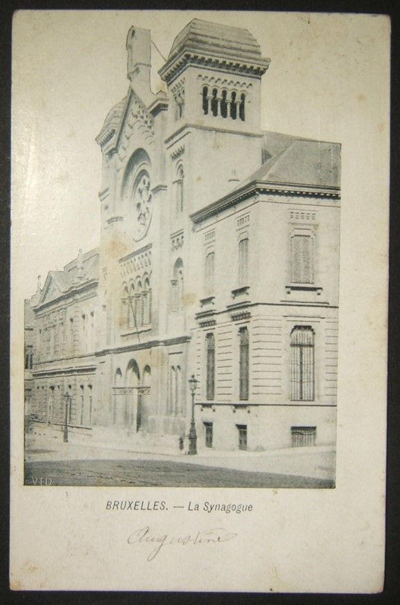 بطاقة بريدية صور يهودية بلجيكية من كنيس بروكسل الكبير ، ختمت بالبريد 1906