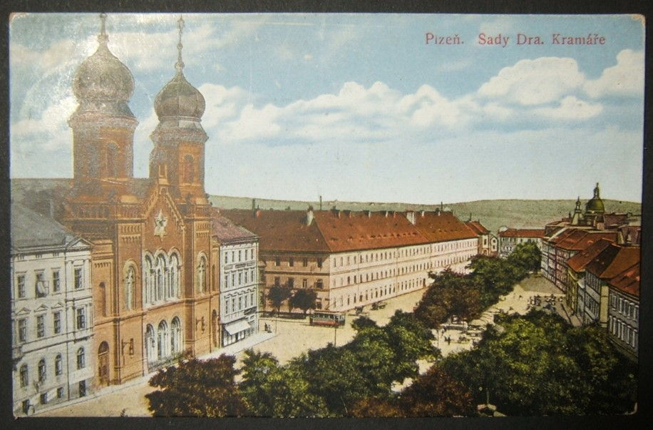Czechoslovakian Judaica picture postcard of Plzen Great Synagogue, used 1925