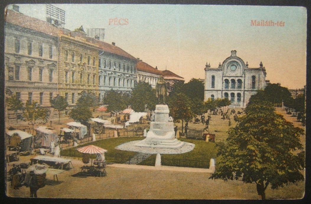 Hungarian Judaica picture postcard of Pecs Neolog Reform Synagogue, used & taxed