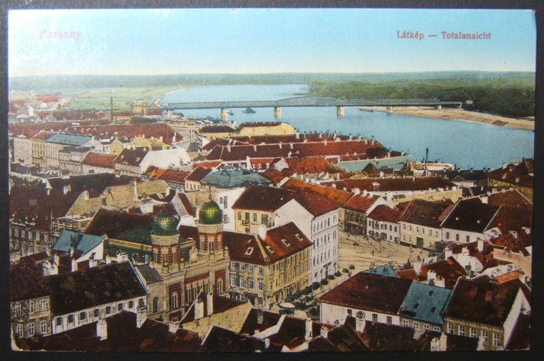 WWI Military mailed/marked Judaica postcard of Pozsony/Bratislava Neolog Synagogue