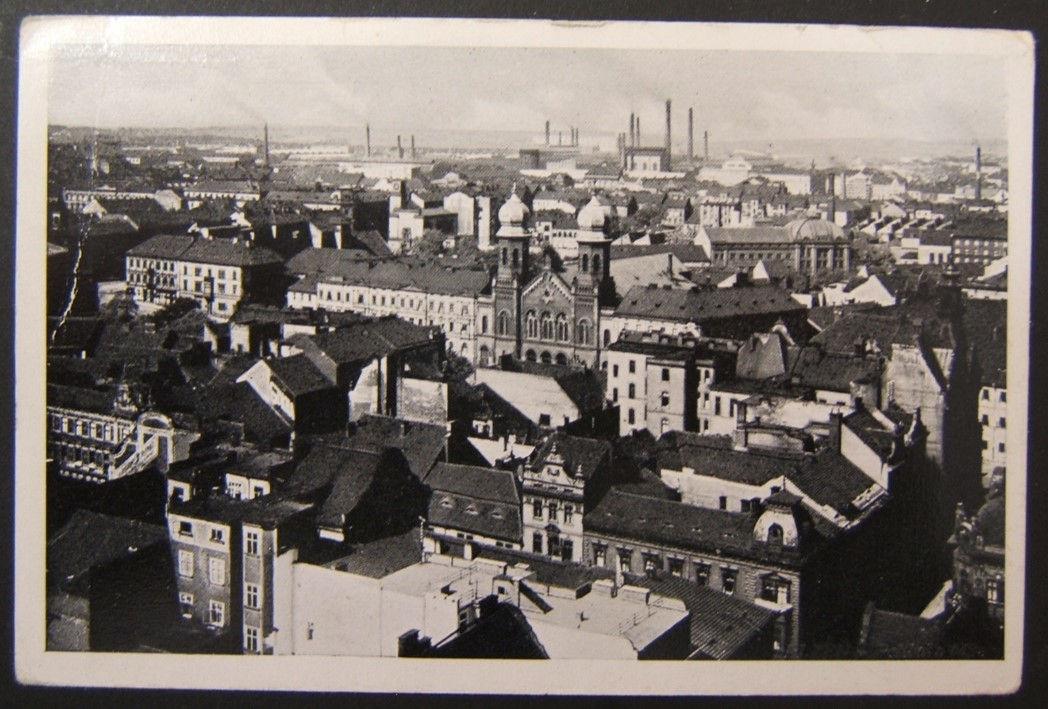 צ'כוסלובקיה בתקופת השואה היטלר חותמת בגלויה יודאיקה של בית הכנסת הגדול פלזן