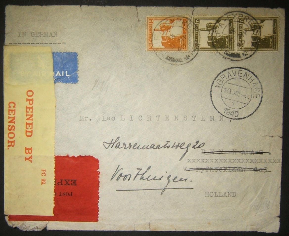 5/1940 WWII express airmail from HAIFA delayed by fall of Holland & DELIVERED 12/1940