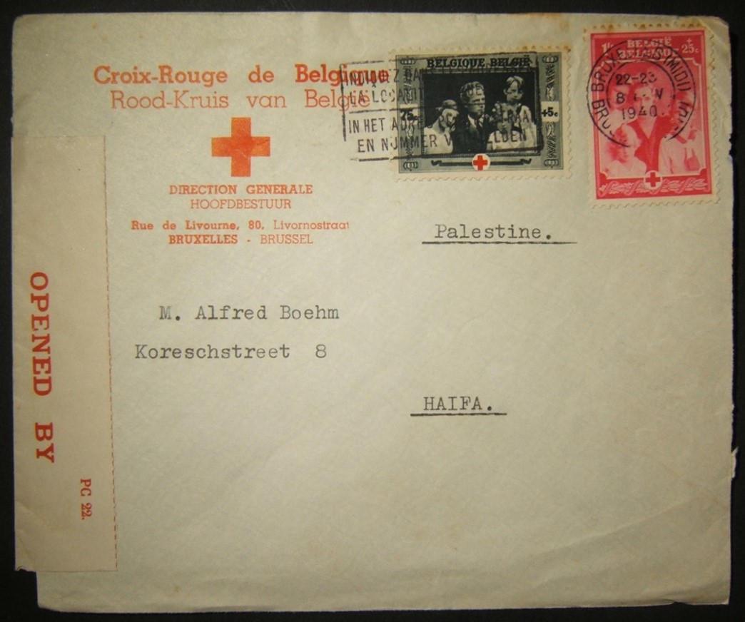 11/1940 מלחמת העולם השנייה / מלחמת שואה דואר הצלב האדום מברוסל לחיפה וצנזורה