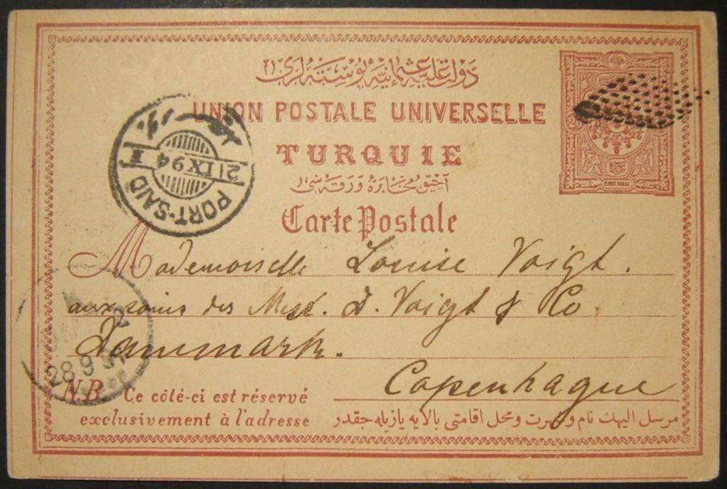 9/1894 بورسعيد تلغي ريتا على بطاقة JAFFA البريدية المرسلة إلى الدنمارك