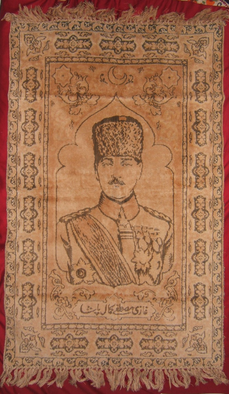Turkish republic Mustafa Kemal Atatürk carpet with Ottoman-Turkish text 1920-23