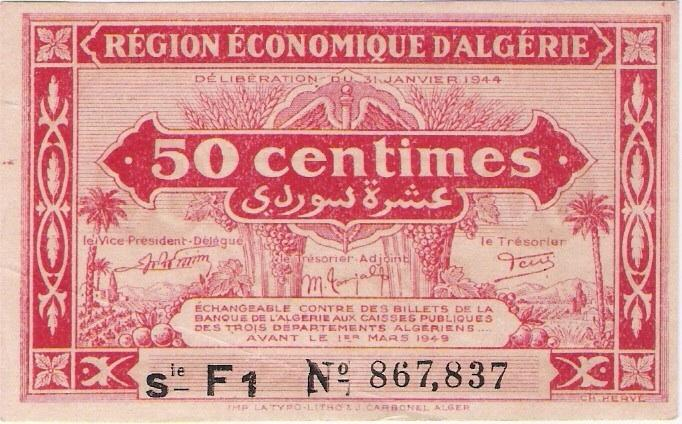 Algeria: 50 Centimes banknote, red; 1944 1st issue, S/L