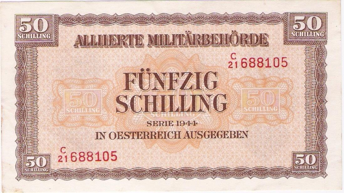 Austria: Allied military currency, 50 Schilling, 1945-47. EF-AU