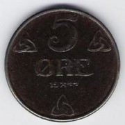Norway: 5 Ore coin, 1944, UNC