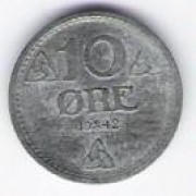 Norway: 10 Ore coin, 1942 (double die), UNC