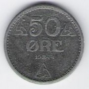 Norway: 50 Ore coin, 1944, VF-EF