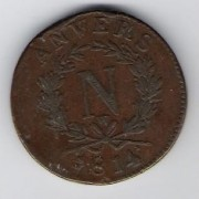 France: 10 Centimes coin, 1814, F-VF