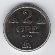 Norway: 2 Ore coin, 1945, AU