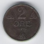 Norway: 2 Ore coin, 1920, VF